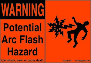 2quotx4quot black orange poly potential arc flash hazard adh for Arc flash warning signs