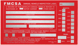 annual vehicle inspection label instructions